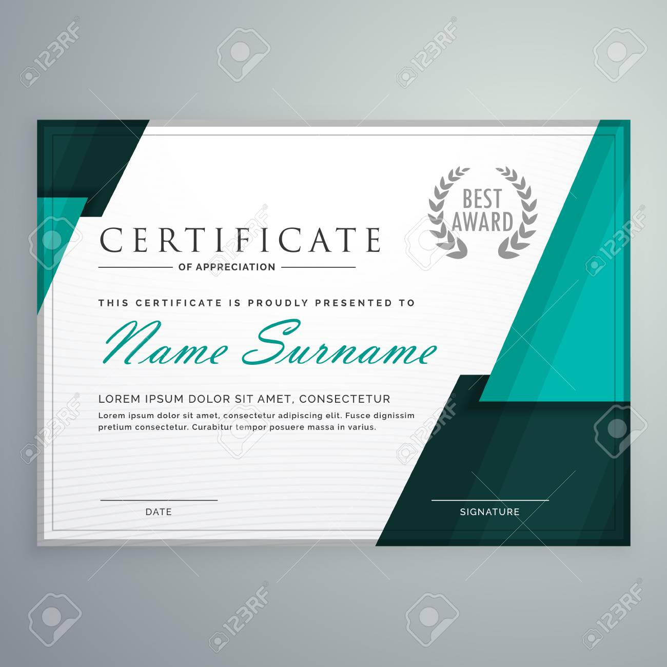 modern certificate design with abstract geometric shapes royalty
