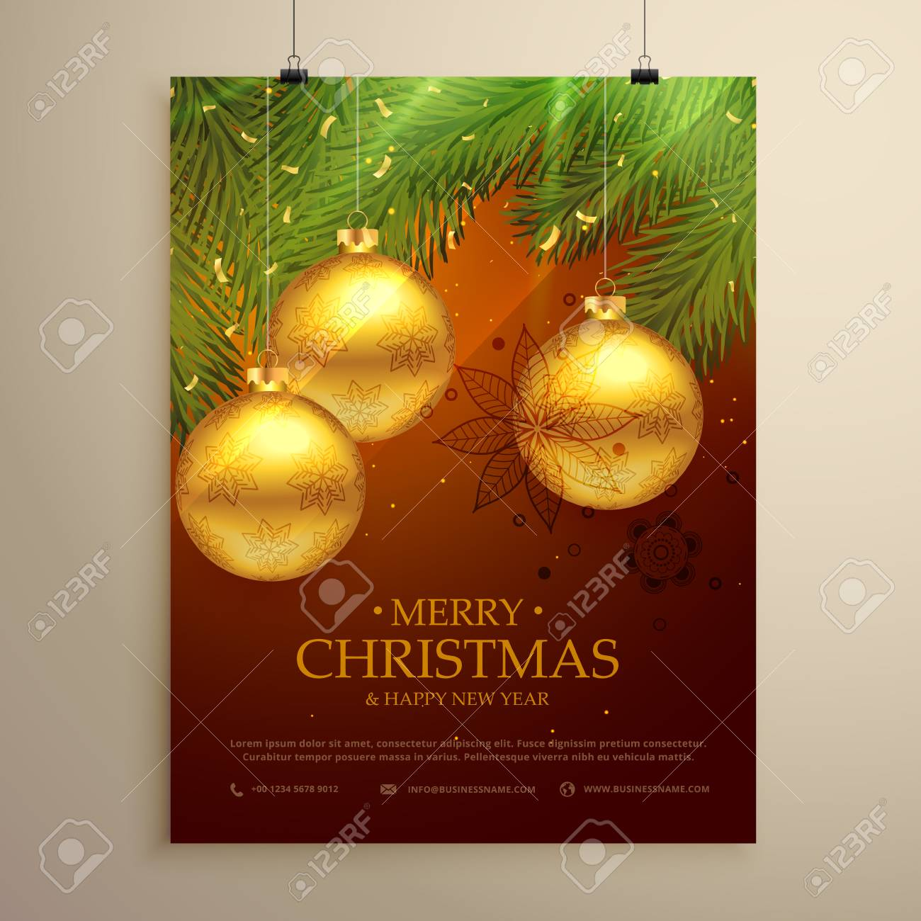 Beautiful Merry Christmas Background Design Flyer Template Royalty ...