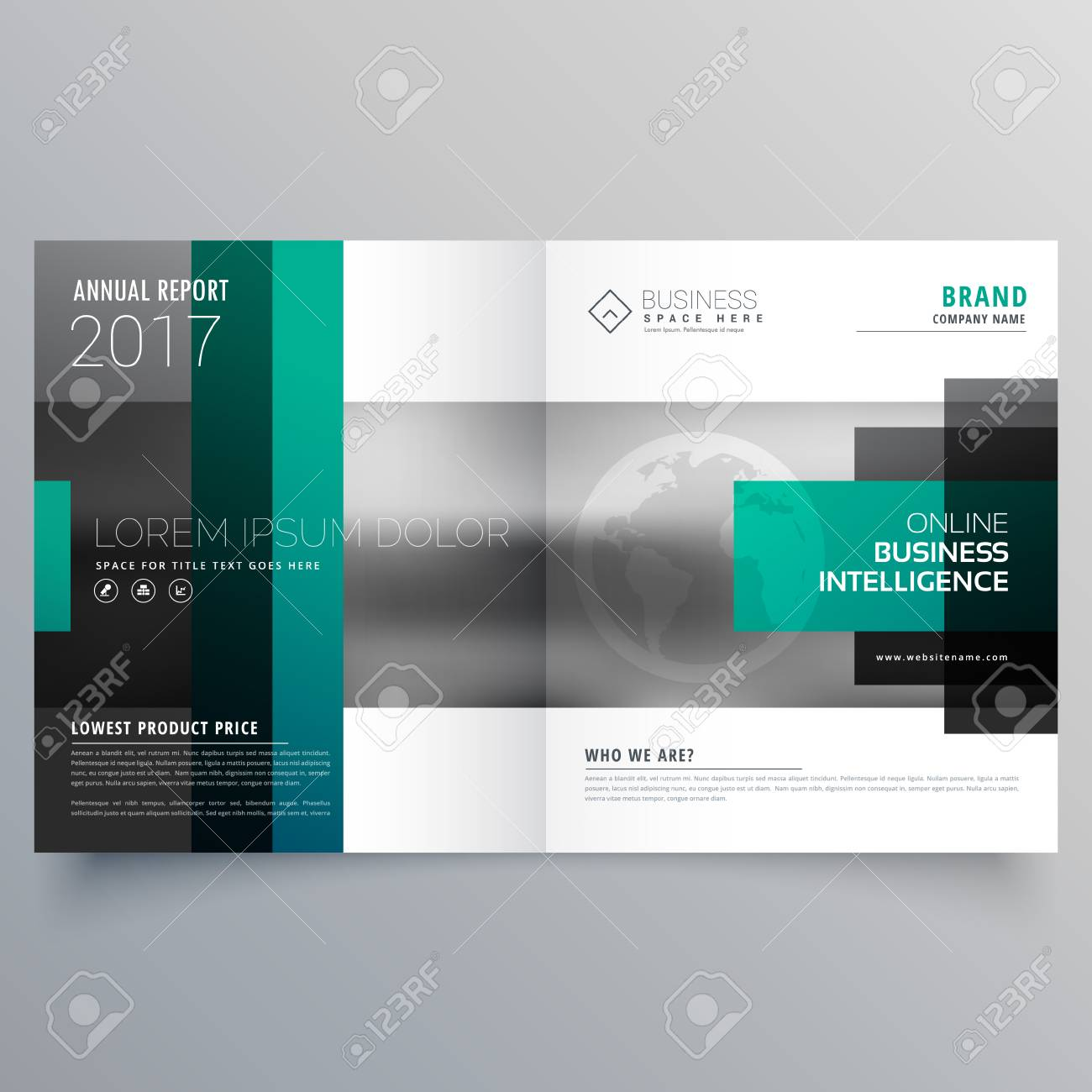 creative booklet brochure template design with rectangle shapes