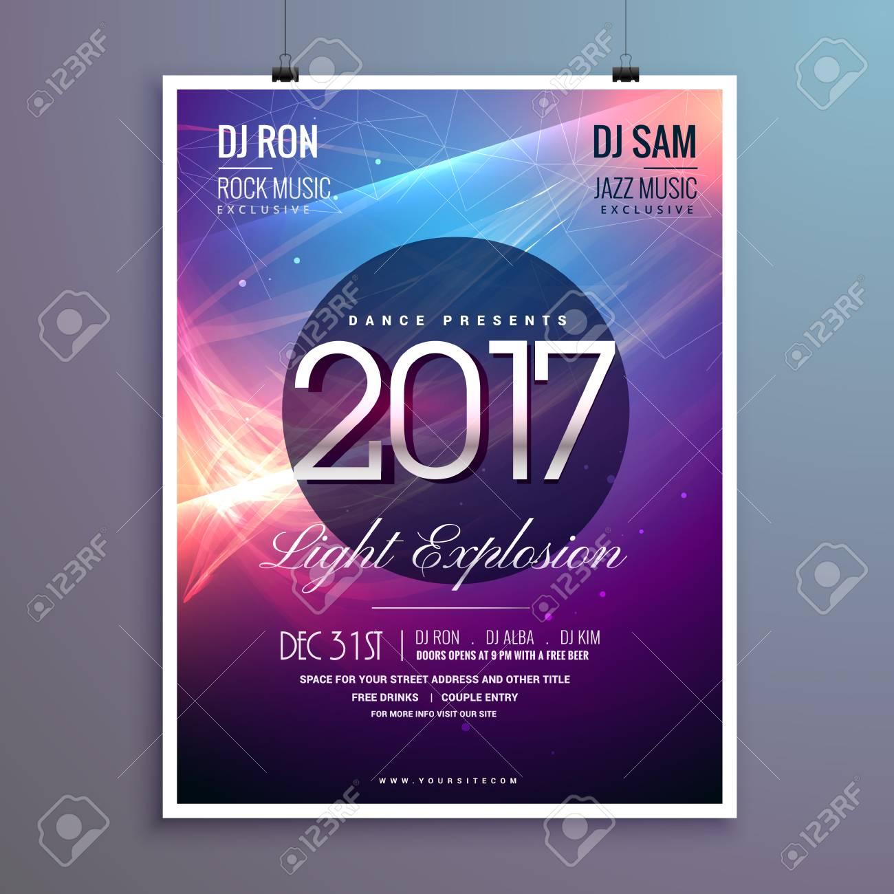 Amazing Happy New Year Party Invitation Template With Abstract - Party invitation template: new year party invitation template