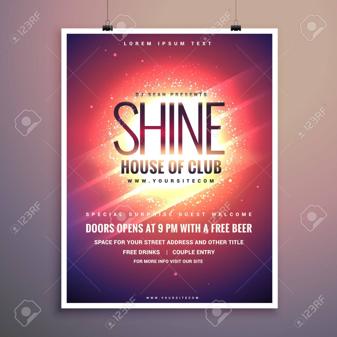 shine club music party flyer template with glowing background - 66227654