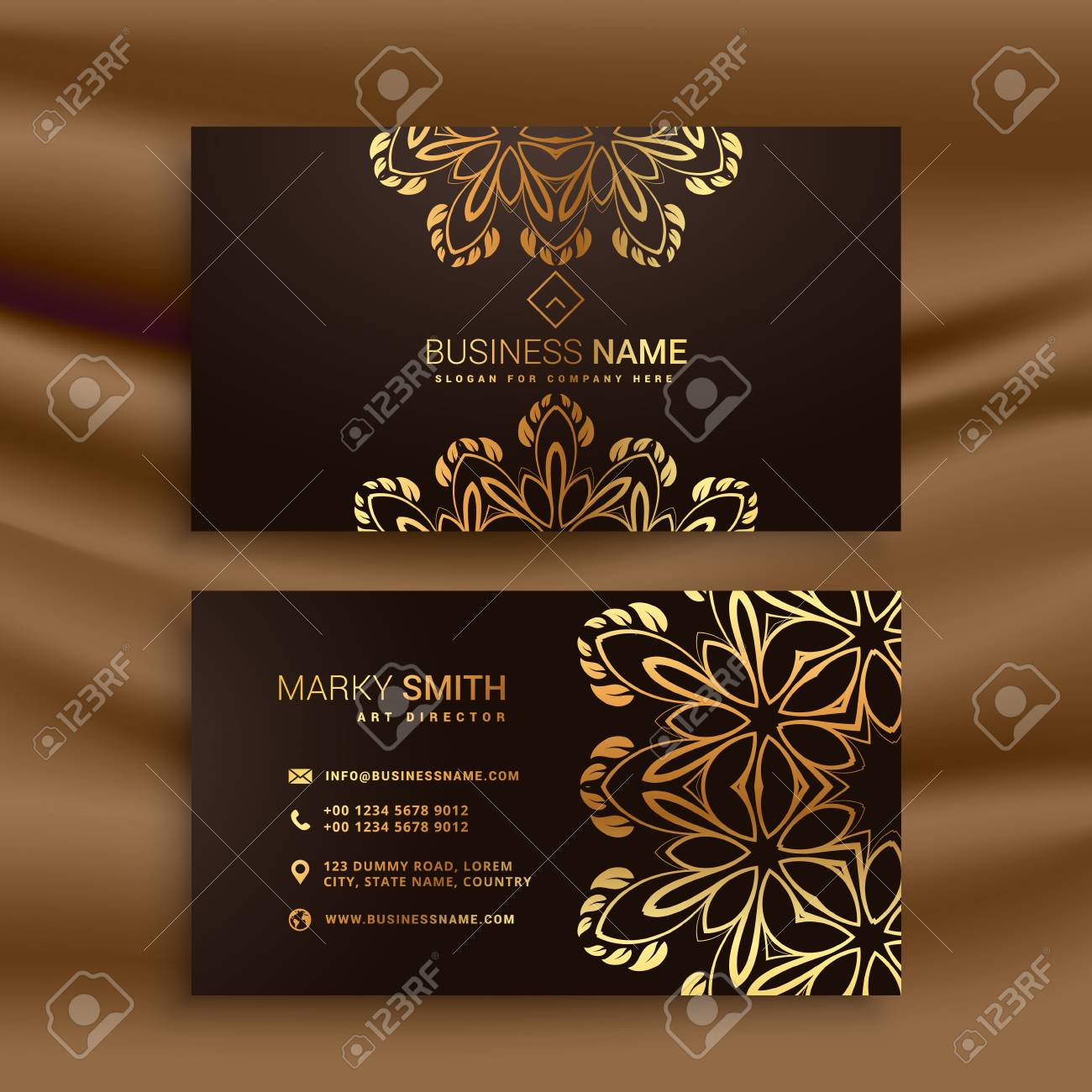 Premium luxury business card design with golden floral decoration premium luxury business card design with golden floral decoration stock vector 67407969 reheart Images