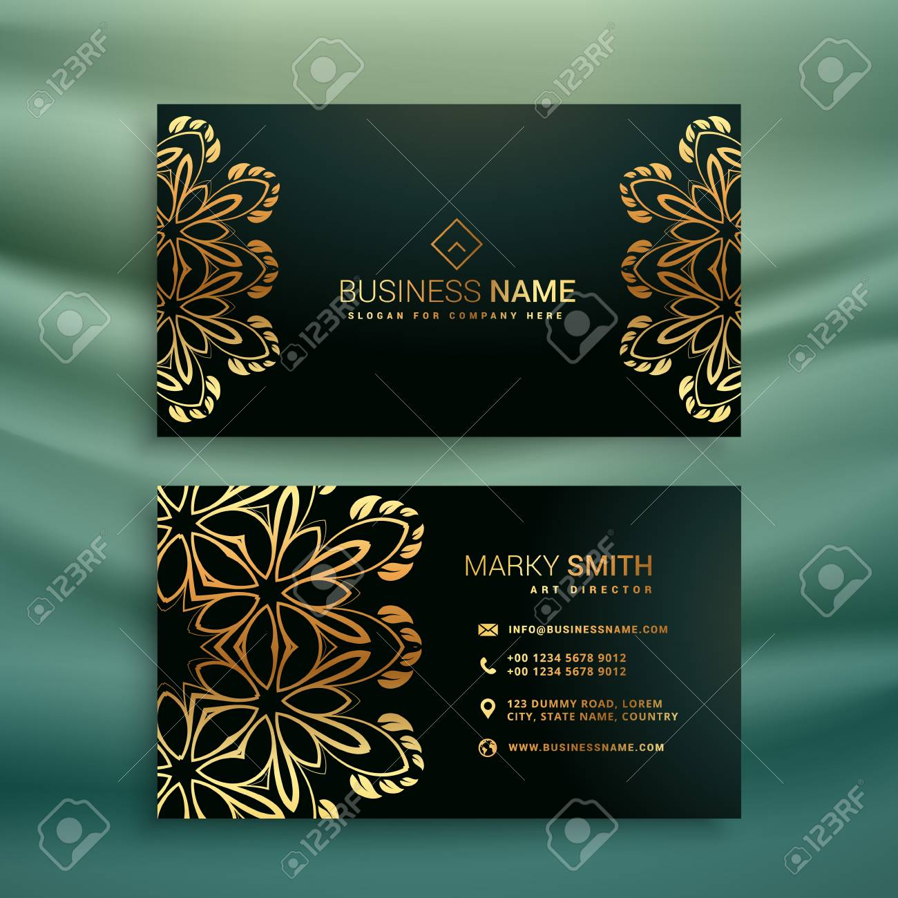Premium business card with golden floral design premium business card with golden floral design stock vector 70373688 reheart Gallery