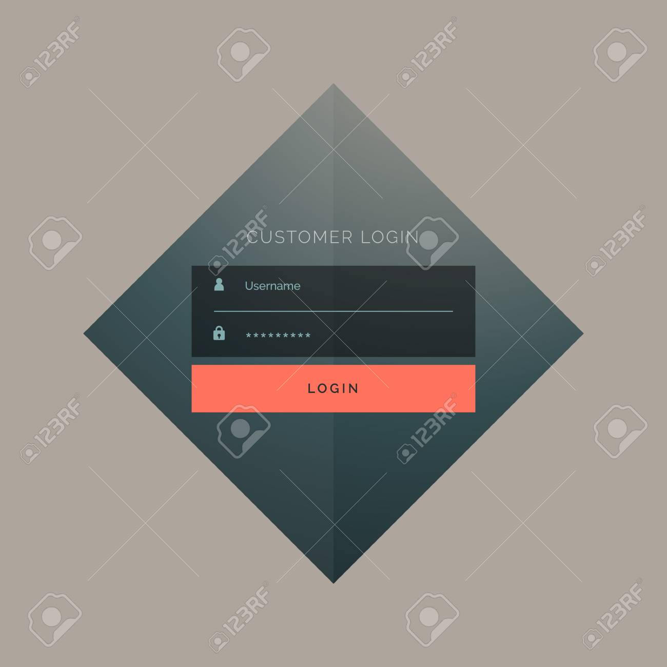 123Rf Password customer login form design with username and password royalty free