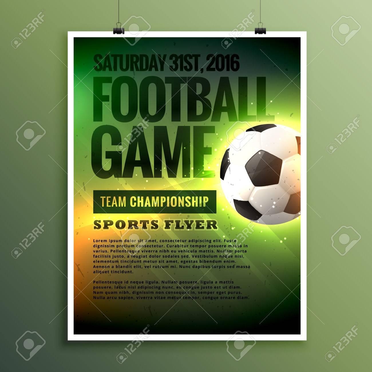 football game flyer design card invitation template stock vector 71585918