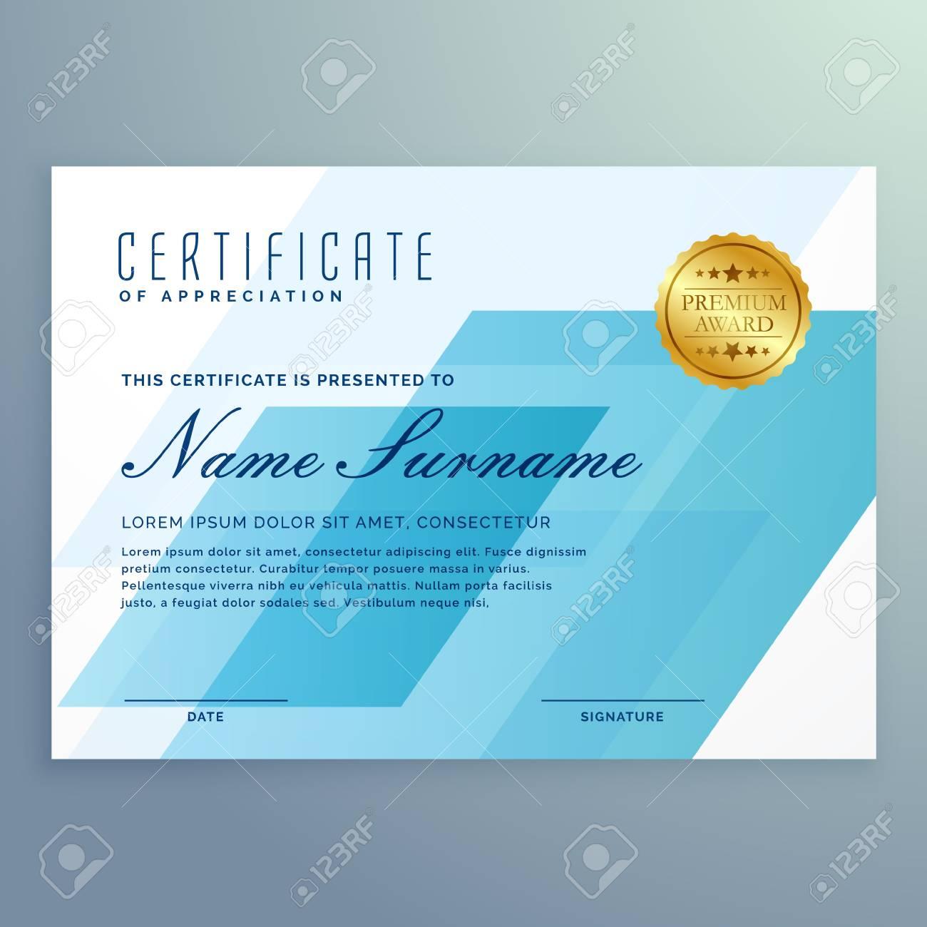 Plantilla Azul Elegante Del Diseño Del Certificado Ilustraciones ...