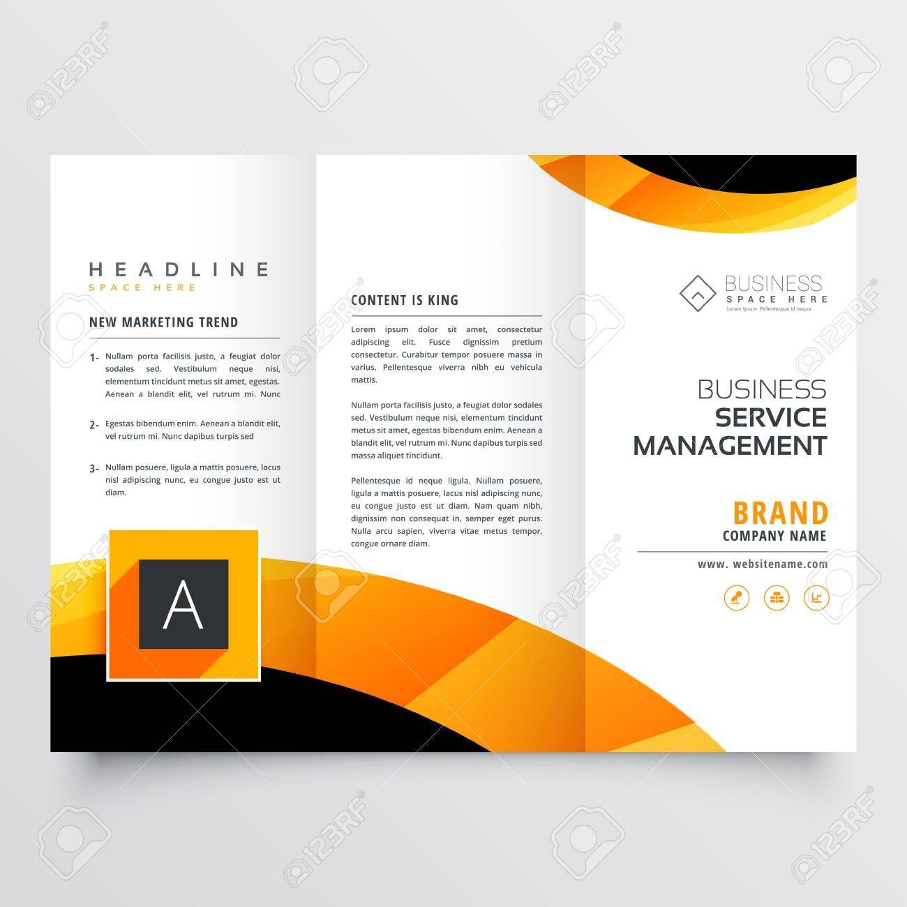 yellow orange black trifold brochure flyer design template for