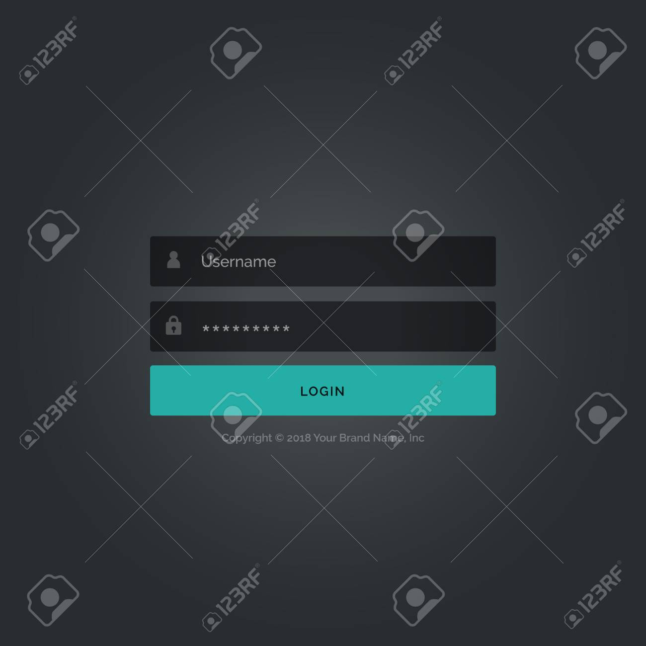 dark login form template design with username and password details
