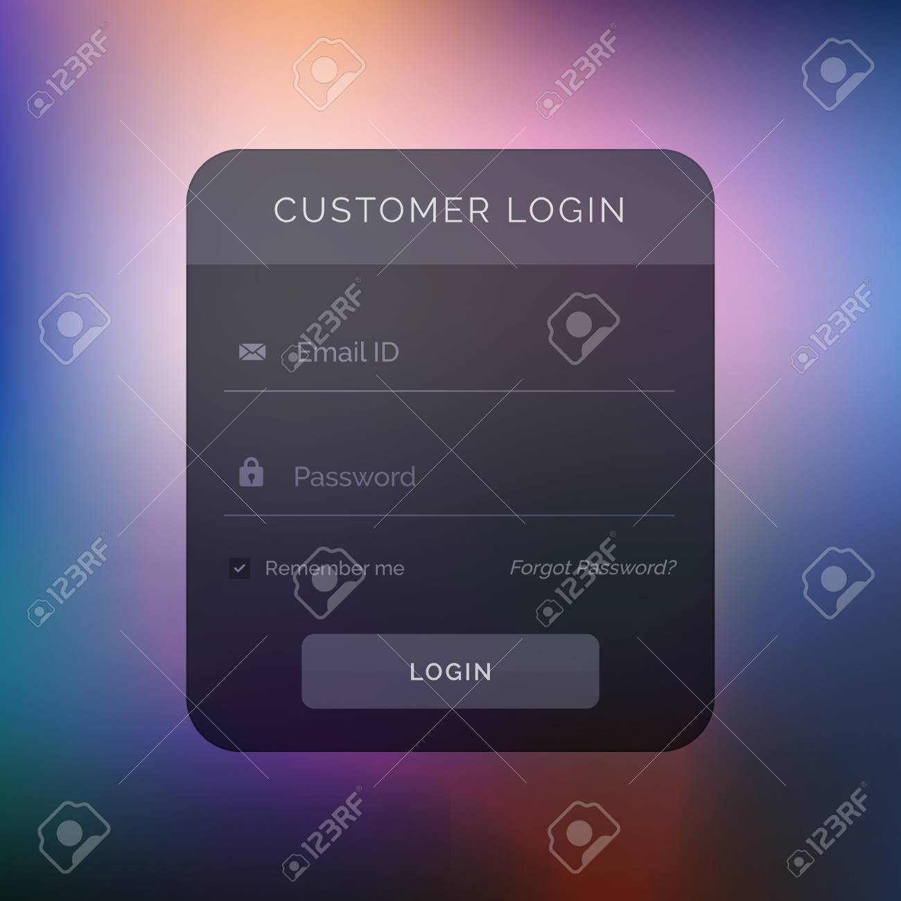 Dark User Interface Design For Login Template Royalty Free Cliparts ...