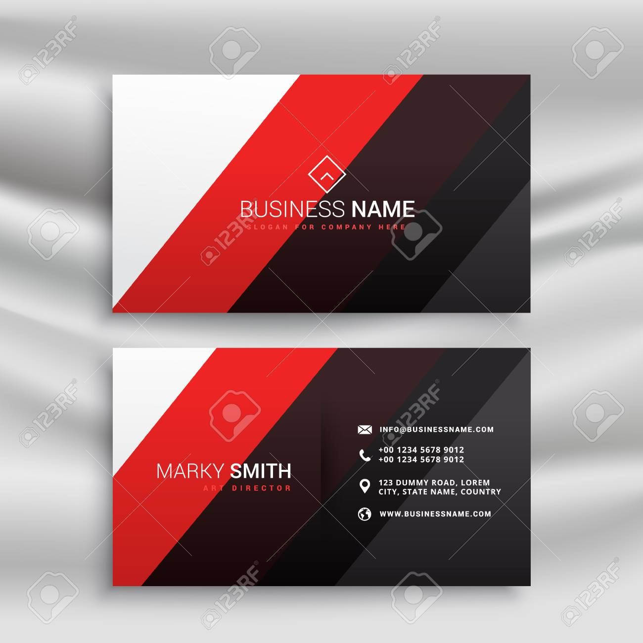 Red And Black Minimal Business Card Design Royalty Free Cliparts