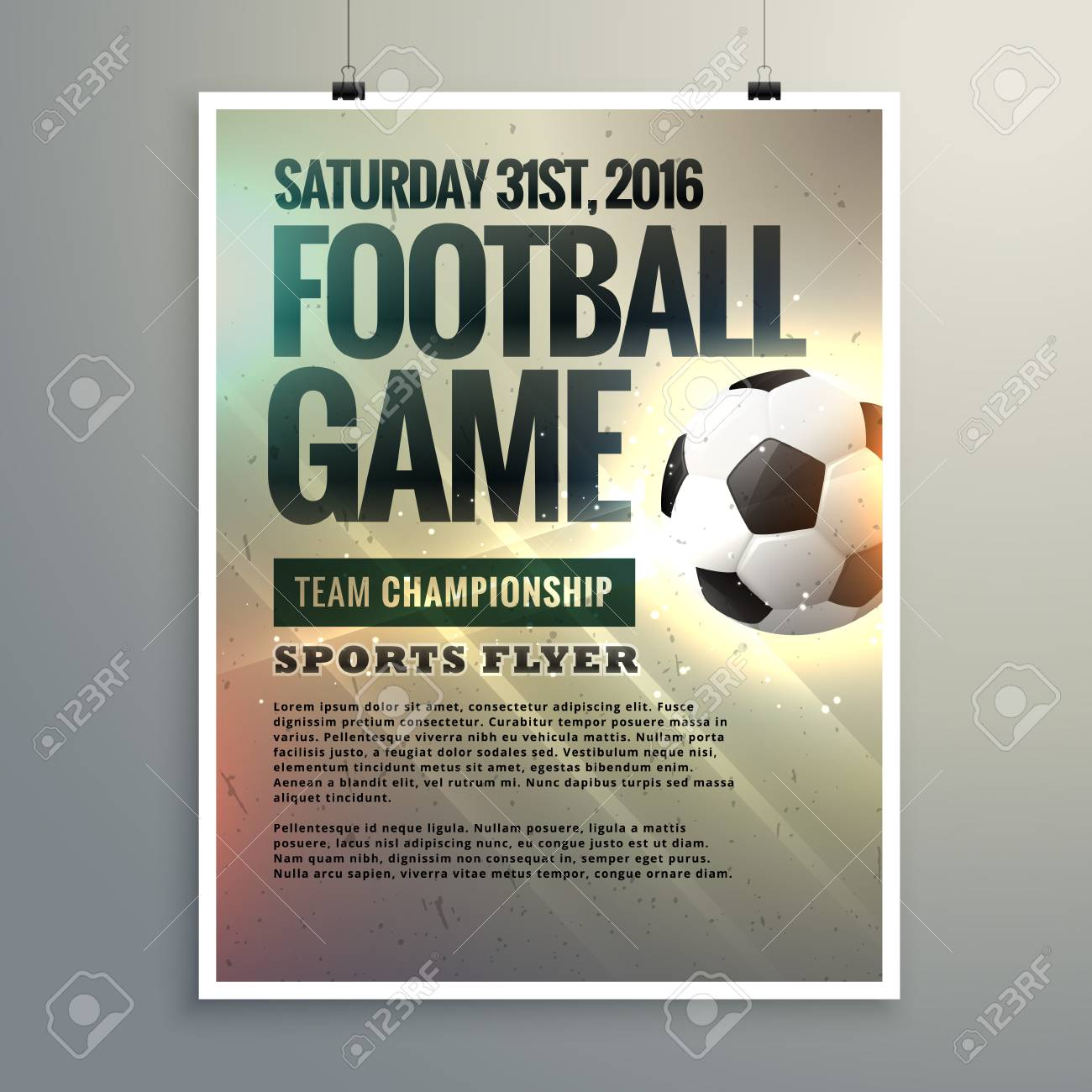 football event flyer design with tournament details royalty free