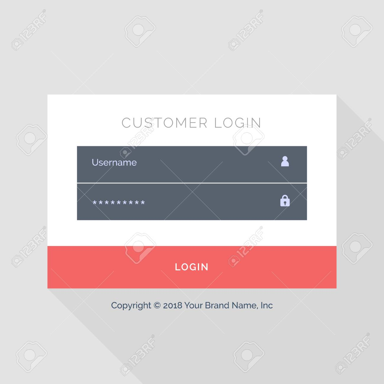 Flat White Login Form UI Template Design Royalty Free Cliparts ...