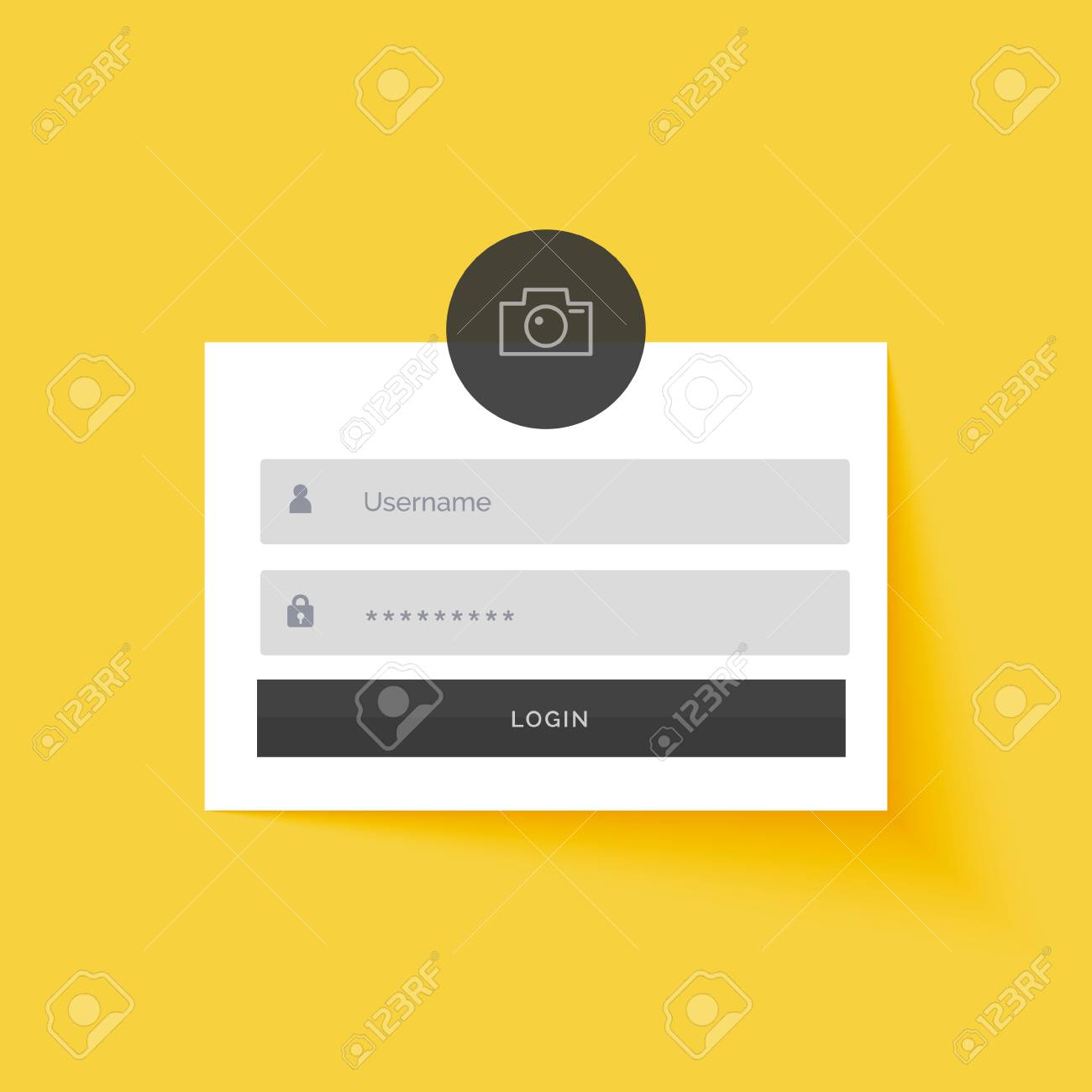 Yellow Login Form Template Design Background Royalty Free Cliparts