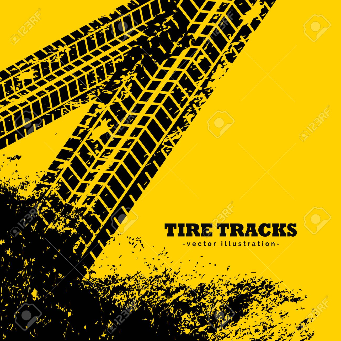 tire tracks marks on grunge yellow background - 76588343