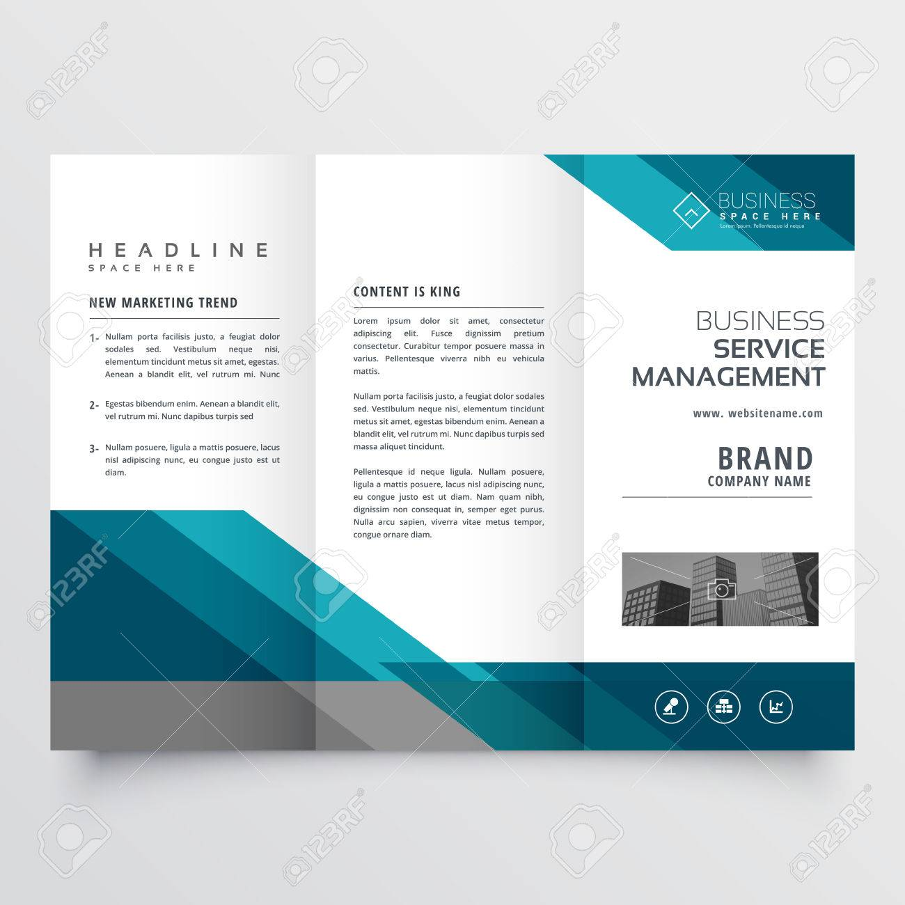 business trifold brochure leaflet design in size A4 for print - 76586285