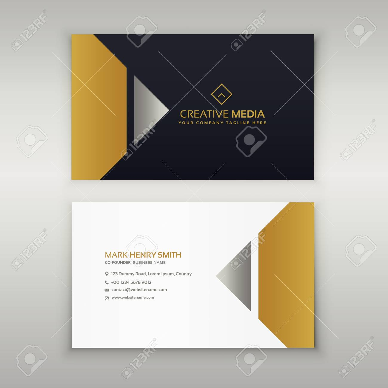 Premium Business Card Design In Golden Theme Royalty Free Cliparts ...