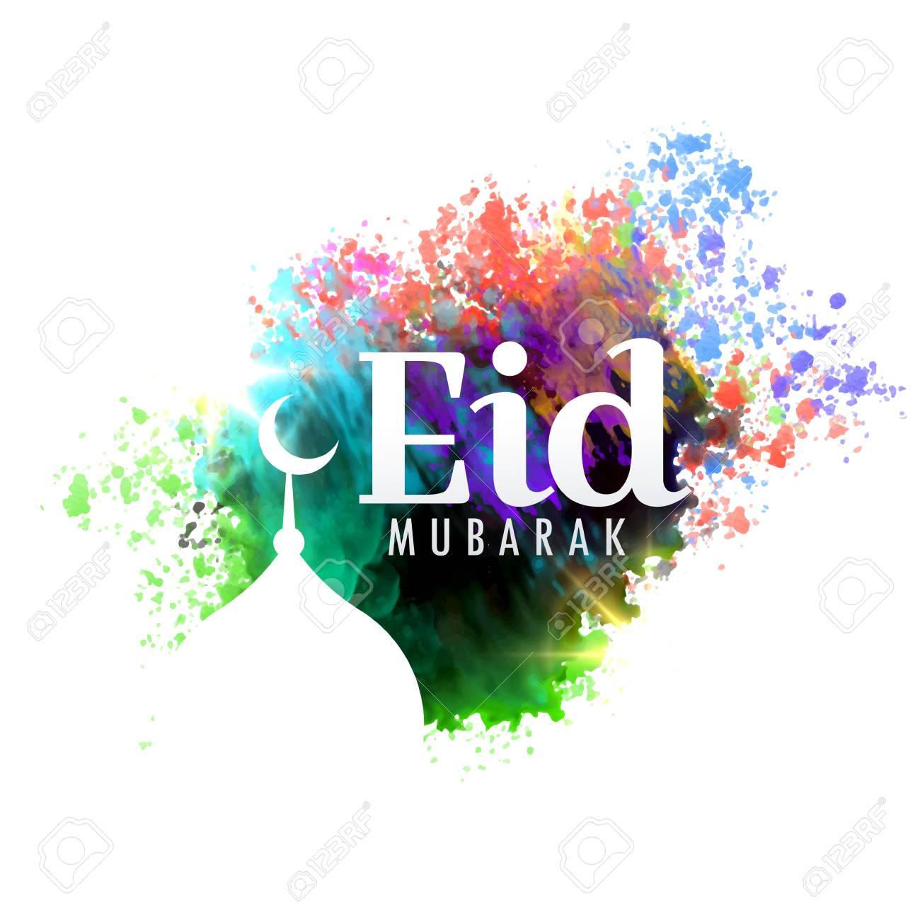 Eid mubarak festival greeting card design with watercolor effect eid mubarak festival greeting card design with watercolor effect stock vector 78021840 m4hsunfo