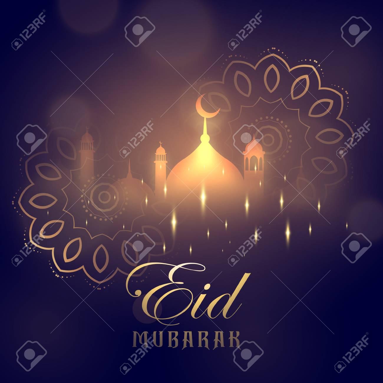 Eid mubarak greeting card design with glowing mosque and mandala eid mubarak greeting card design with glowing mosque and mandala decoration stock vector 78063450 m4hsunfo