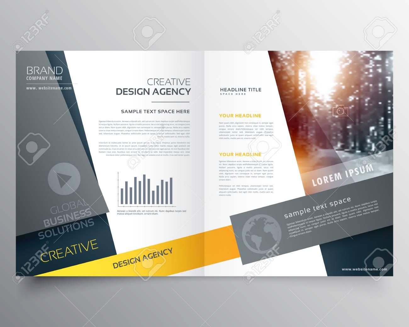 A Modern Bi Fold Brochure Design Template Or Magazine Cover Page