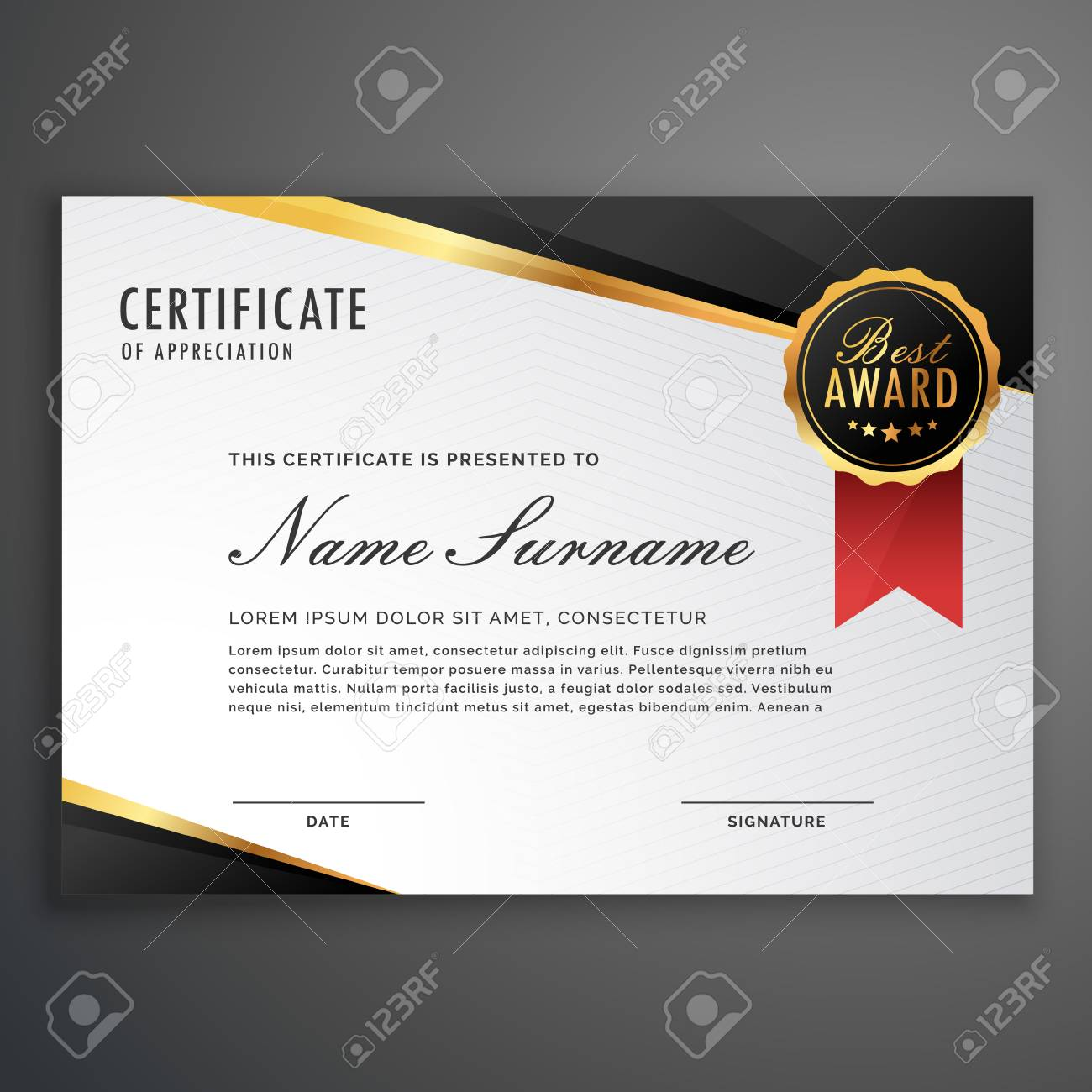 Certificate Design Template | Luxurious Certificate Design Vector Template Royalty Free Cliparts