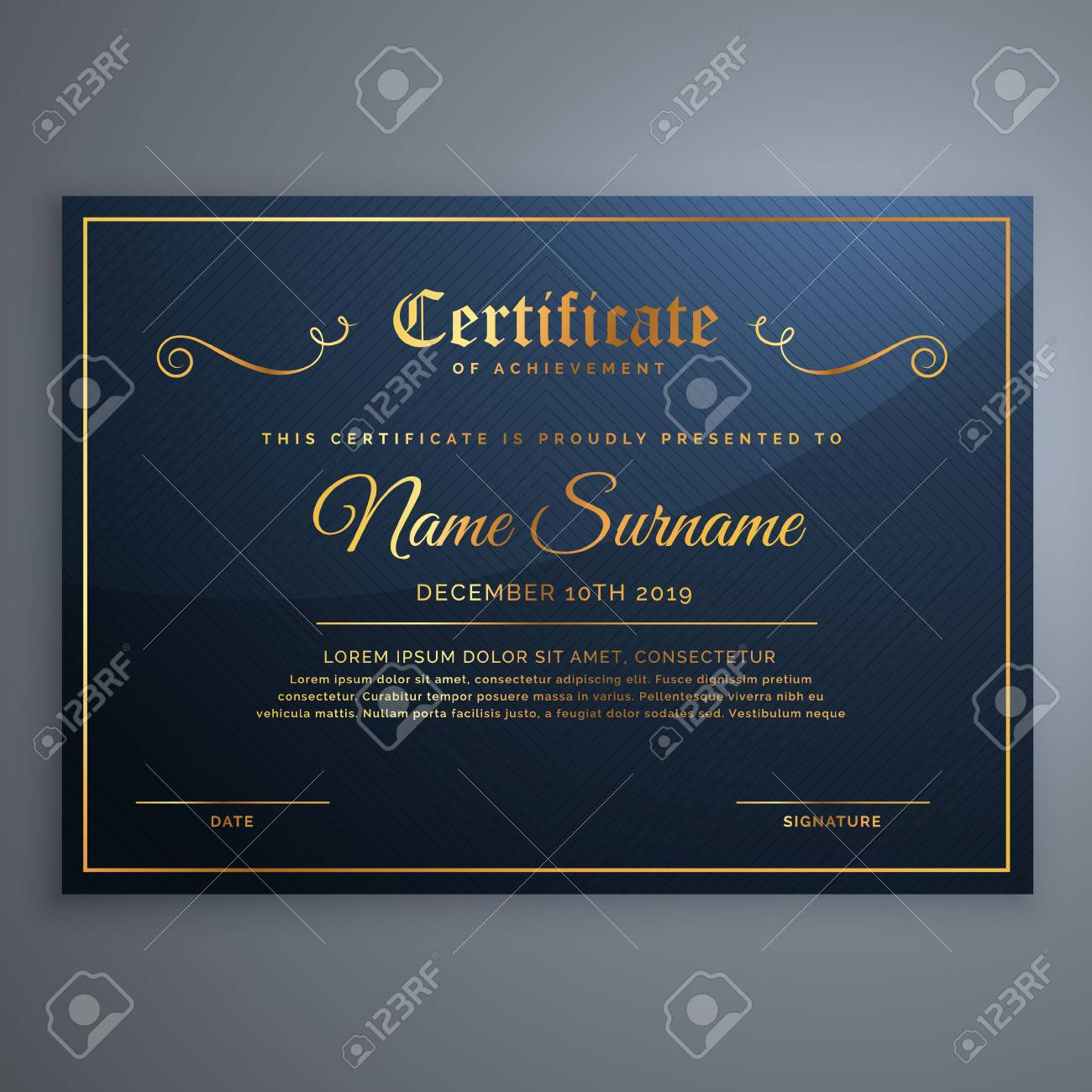 Premium Blue Certificate Template Design In Golden Style Royalty