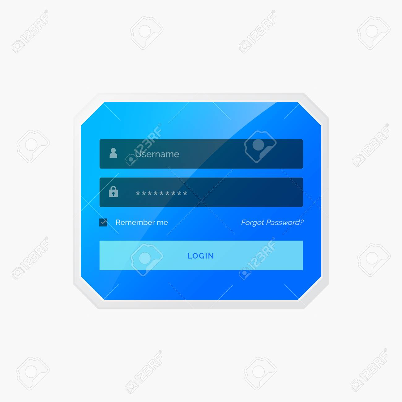 Blue Login Form Template Design In Vector Style Royalty Free ...