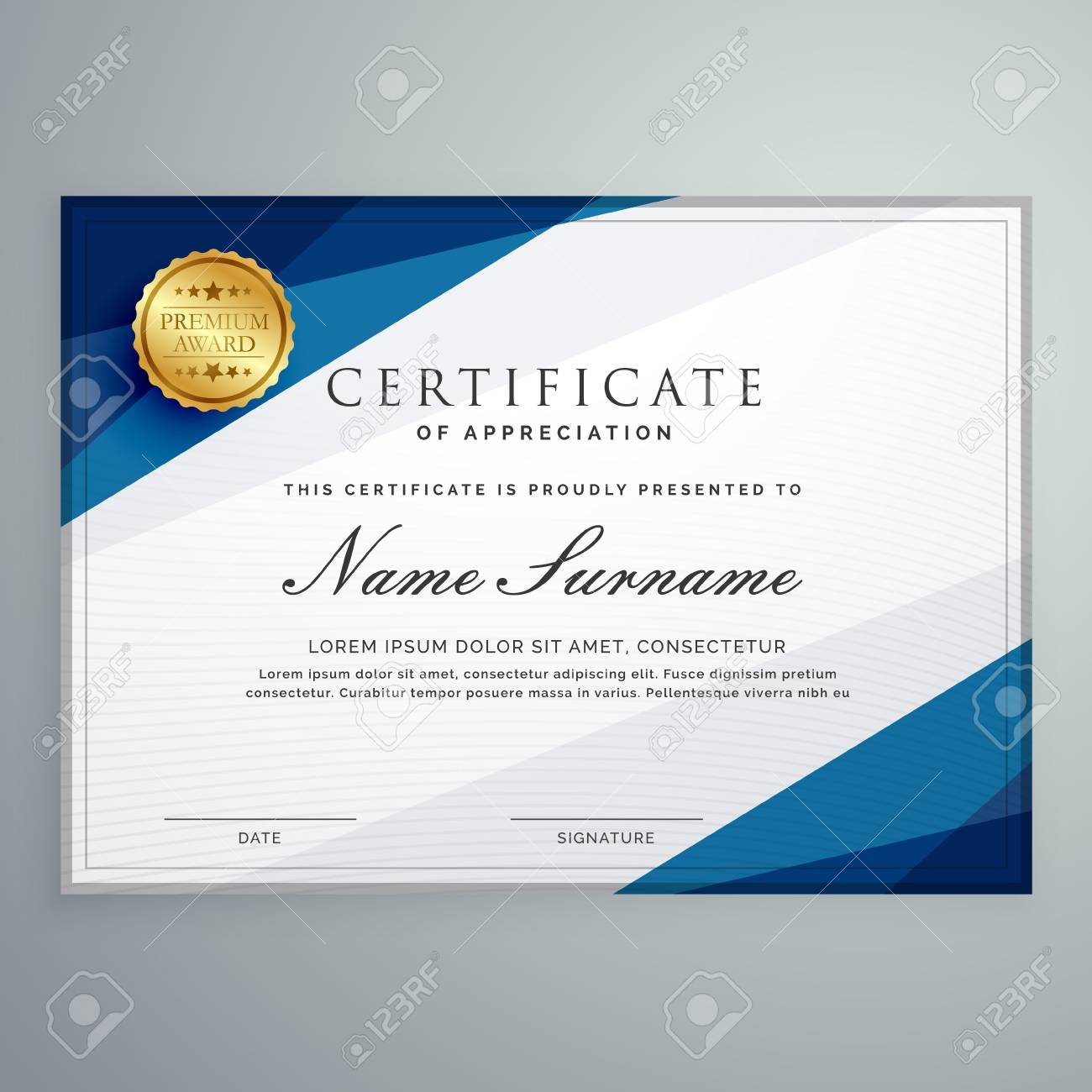 Elegant White And Blue Certificate Diploma Template Royalty Free