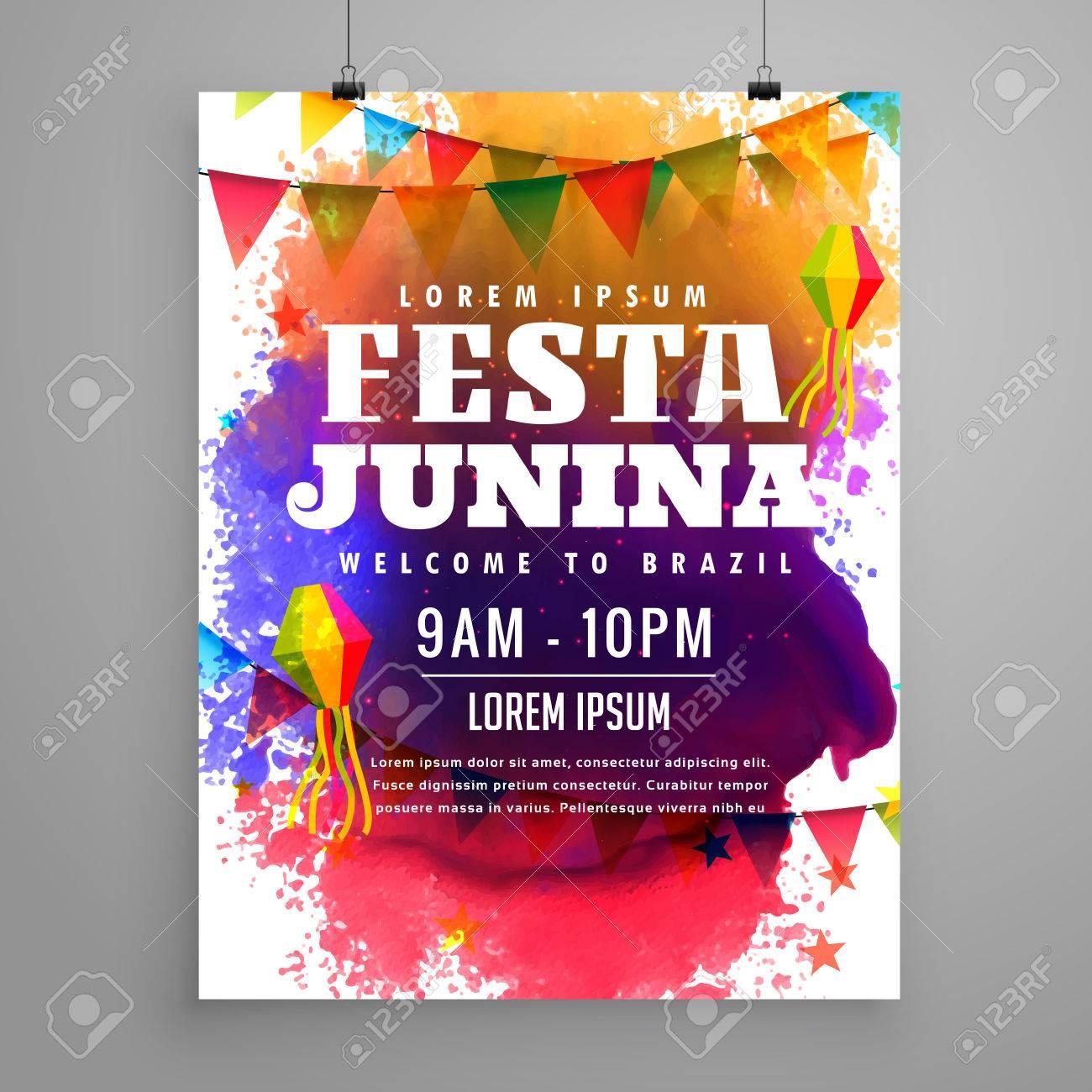 Festa Junina Invitation Flyer Template Design Royalty Free Cliparts ...