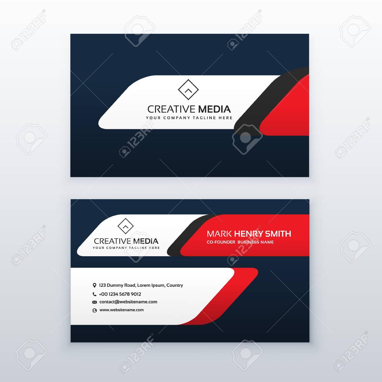 Plantilla De Diseño Profesional De Tarjetas De Visita En Color Rojo ...