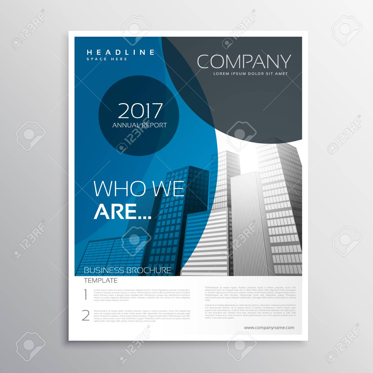 blue business brochure cover page template design with curve