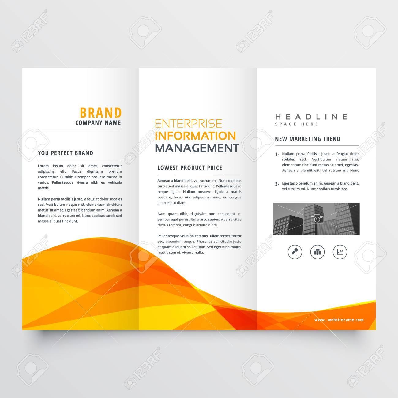 Tri Fold Brochure Design Corporate Business Template With Orange