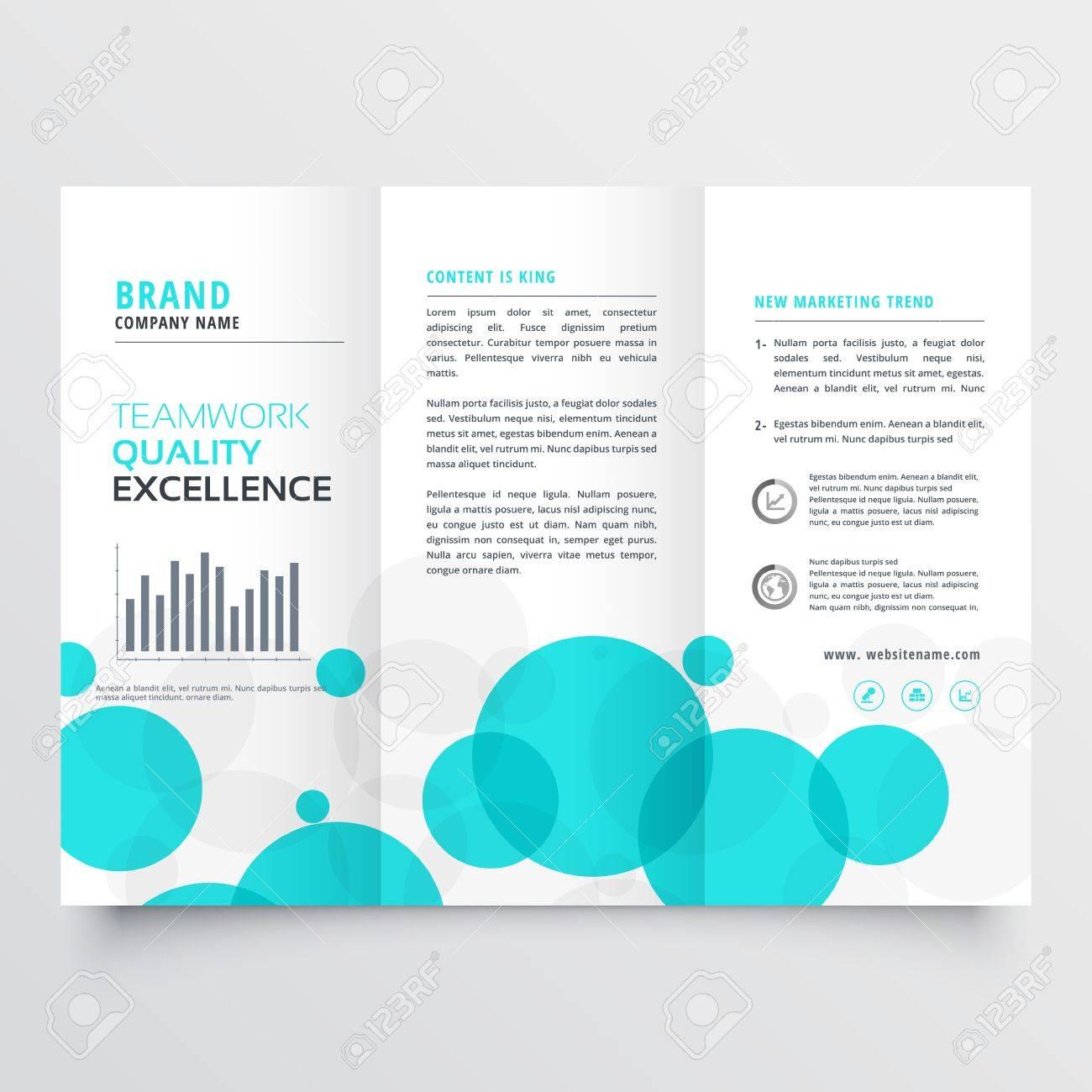 Elegant Creative Blue Circles Tri Fold Brochure Design Template