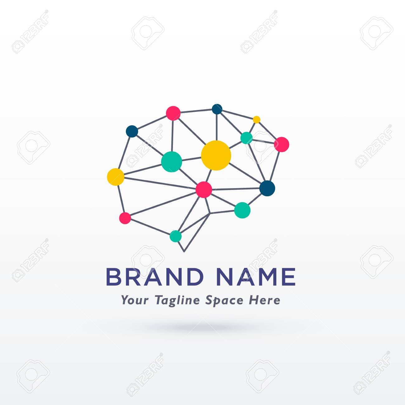 A digital brain concept design logo vector on a colorful presentation