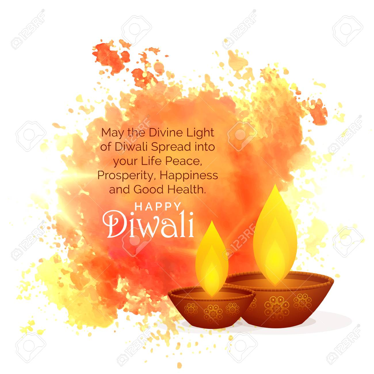 awesome diwali festival wishes with watercolor splash and diya - 86925008