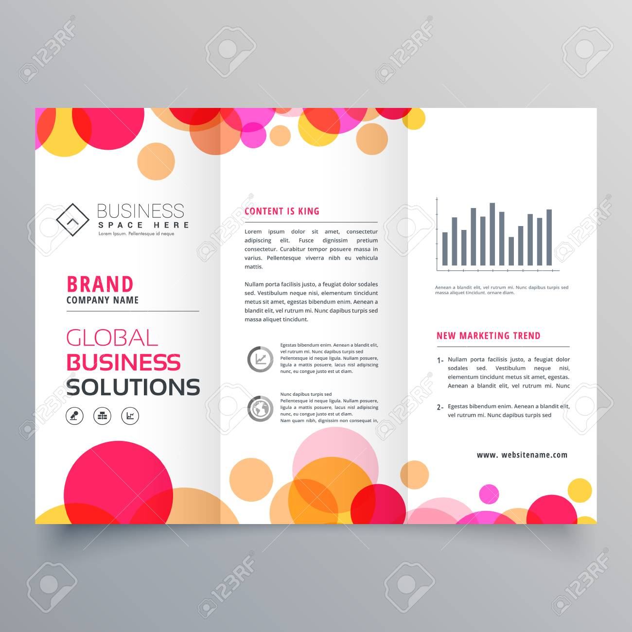 Creative Circles Tri Fold Brochure Template Design For Business  Presentation Stock Vector   87063670