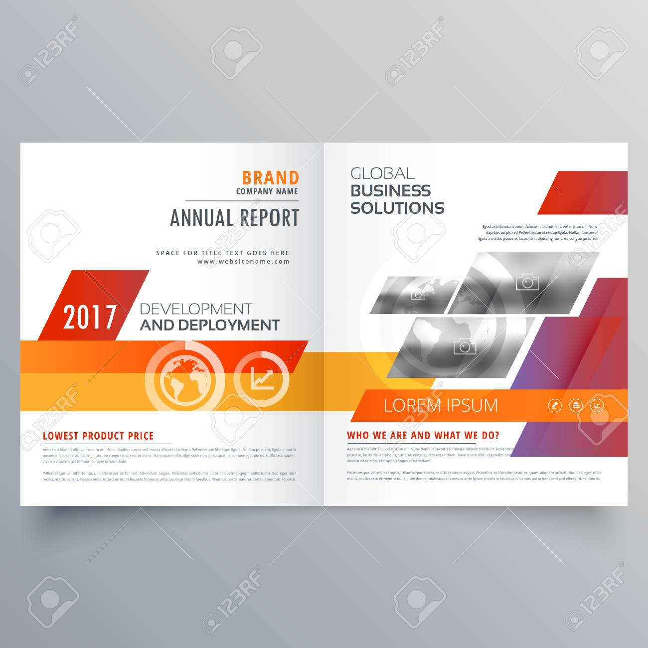 Business Bi Fold Brochure Or Magazine Cover Page Design Vector