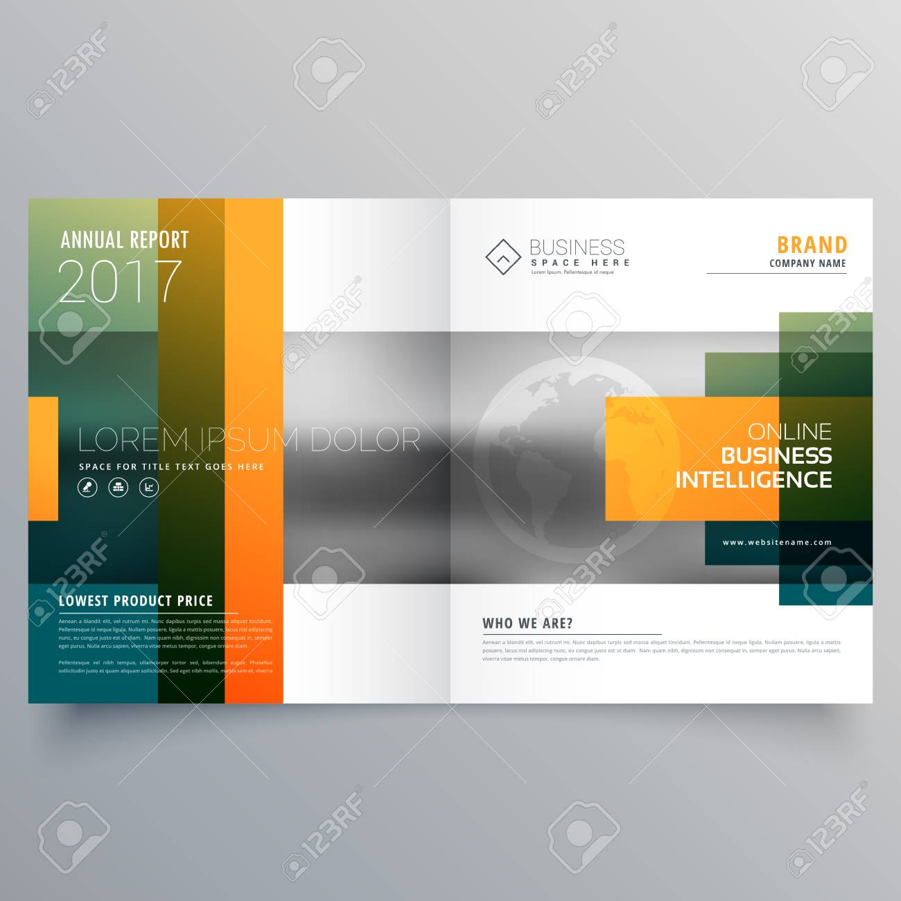 abstract creative bi fold brochure template or magazine cover