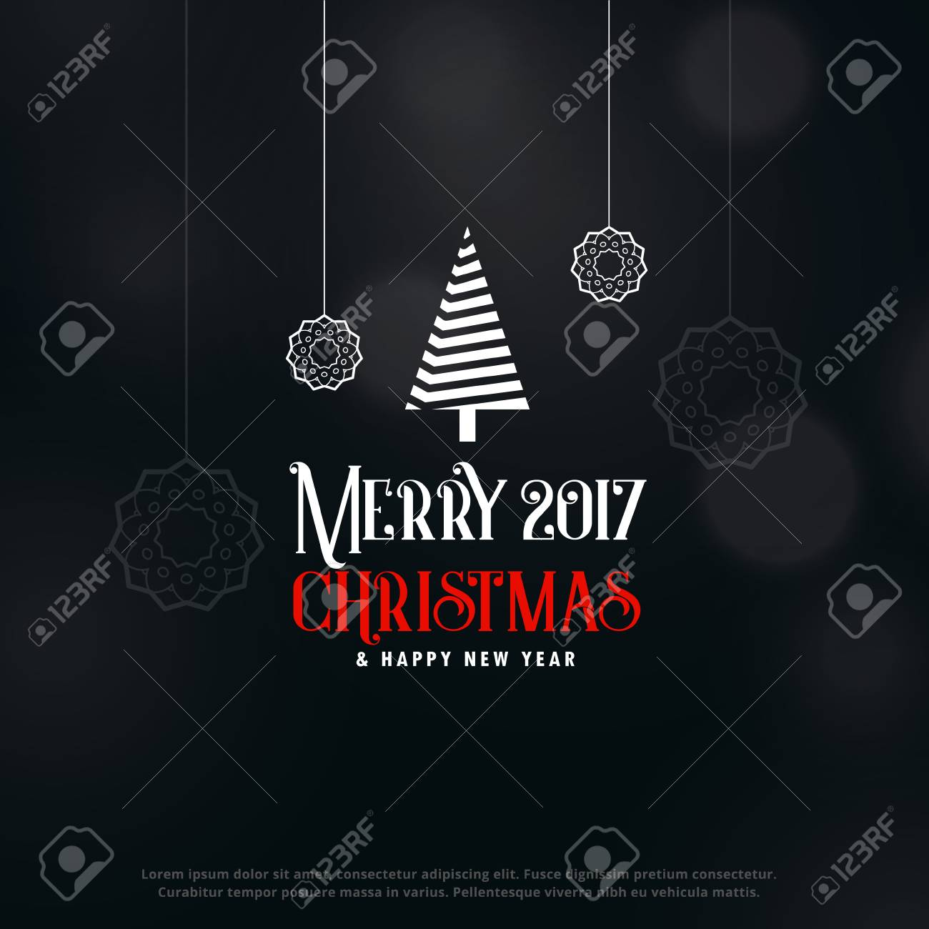 Dark Christmas.Merry Christmas Dark Greeting Design Background