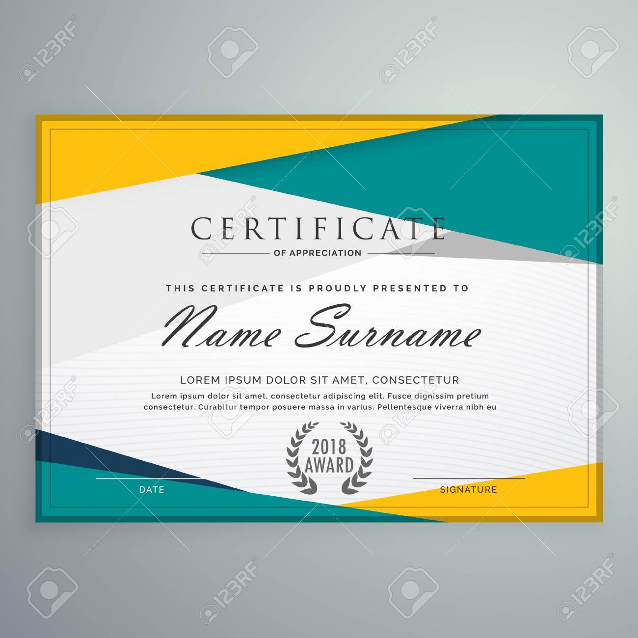 Abstract Geometric Certificate Template Design Royalty Free Cliparts ...