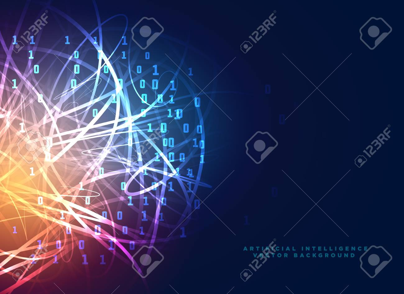 digital technology design with abstract letwork lines and binary code - 96952102