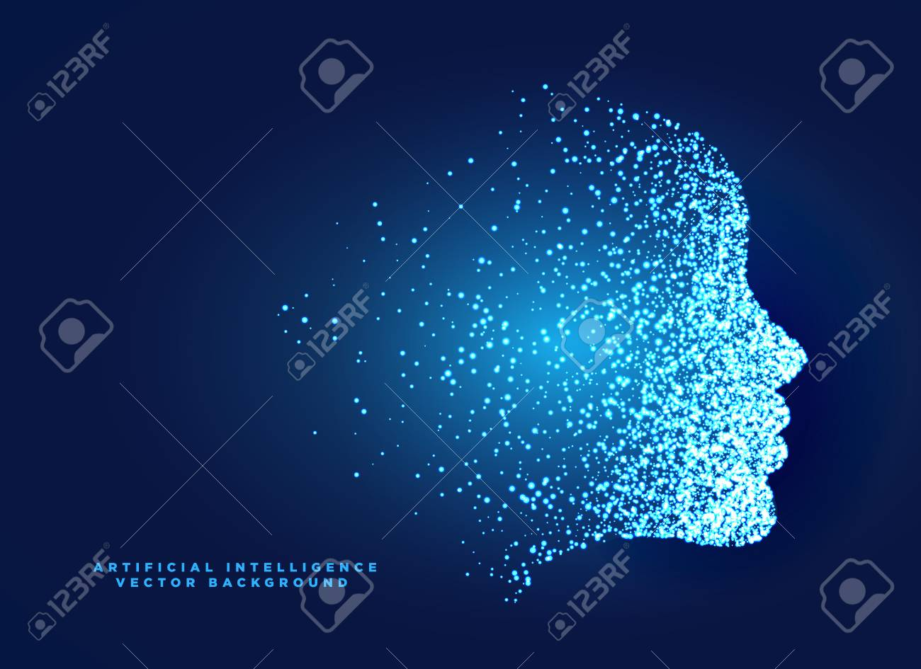 particle digital face concept design for artificial intelligent and machine learning - 96952105