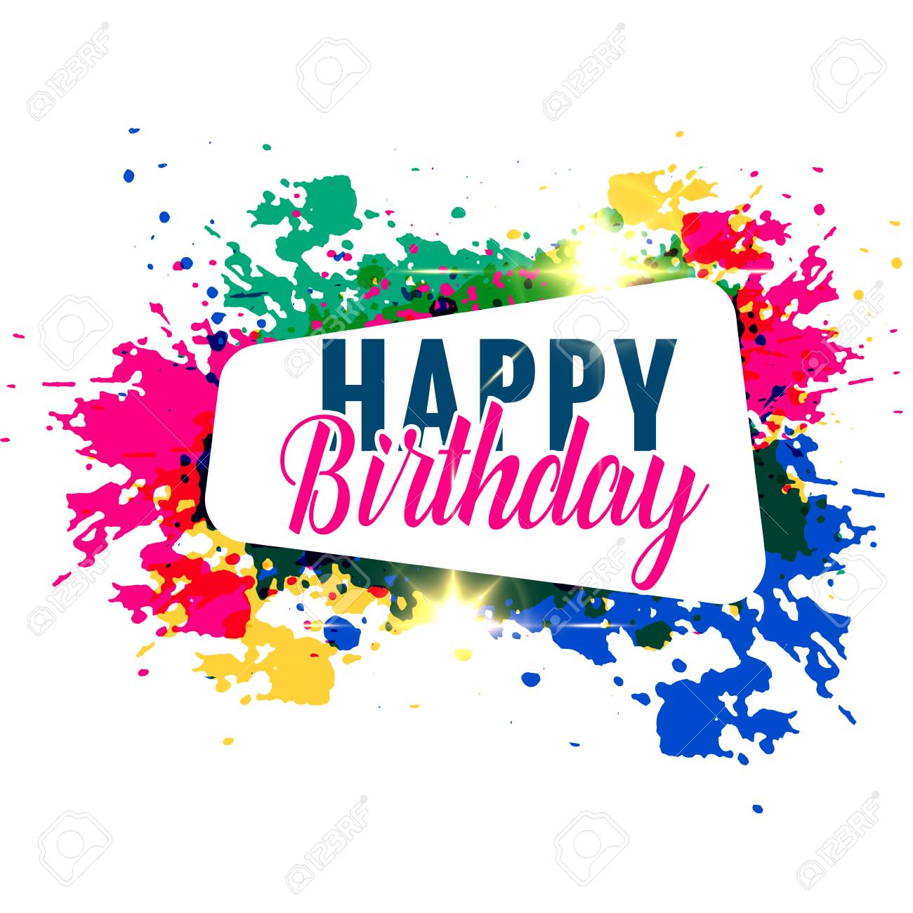 Abstract Colorful Splash Happy Birthday Greeting Design Royalty Free Cliparts Vectors And Stock Illustration Image 97993480