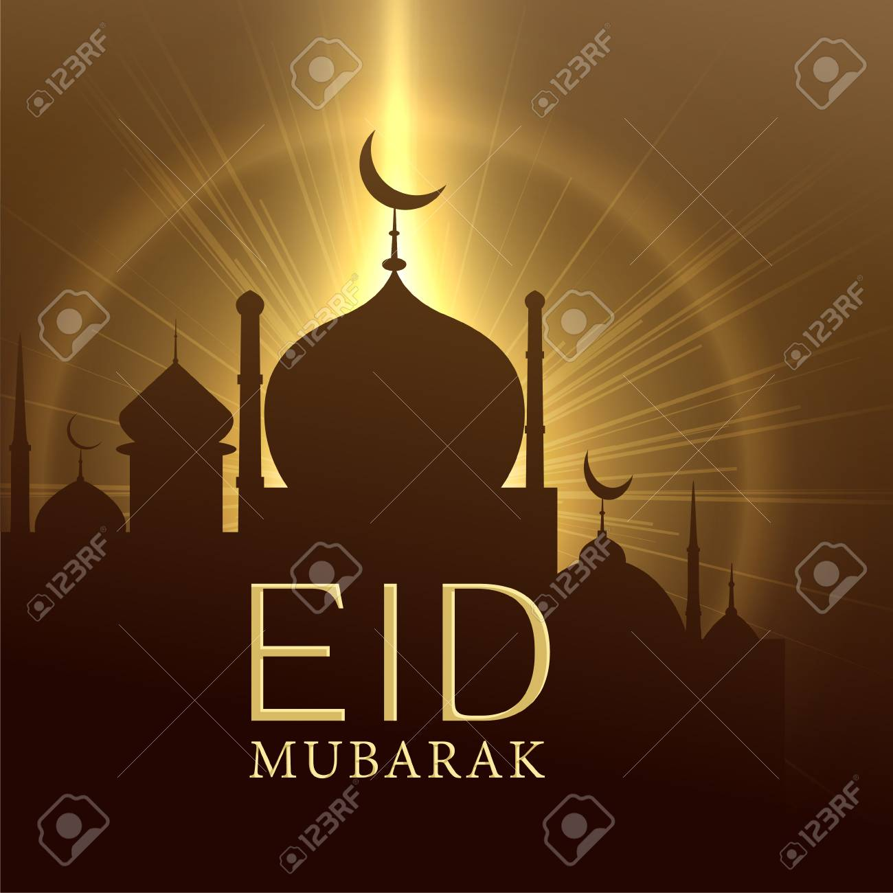 Mosque With Glowing Light Eid Mubarak Greeting Royalty Free