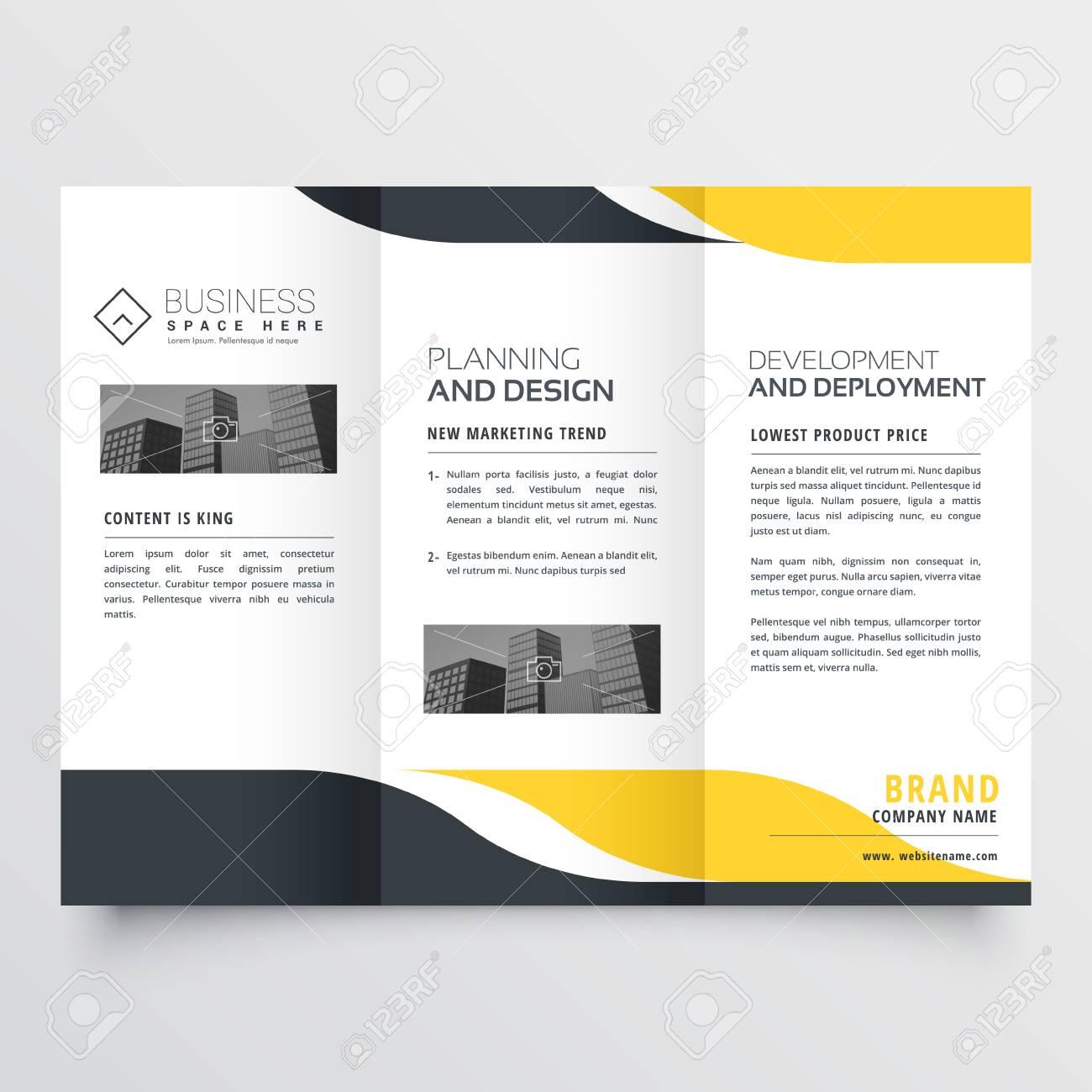 professional yellow black modern trifold brochure design royalty