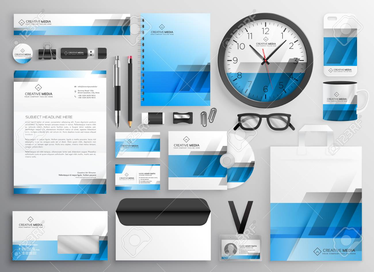 professional blue business stationery items set royalty free