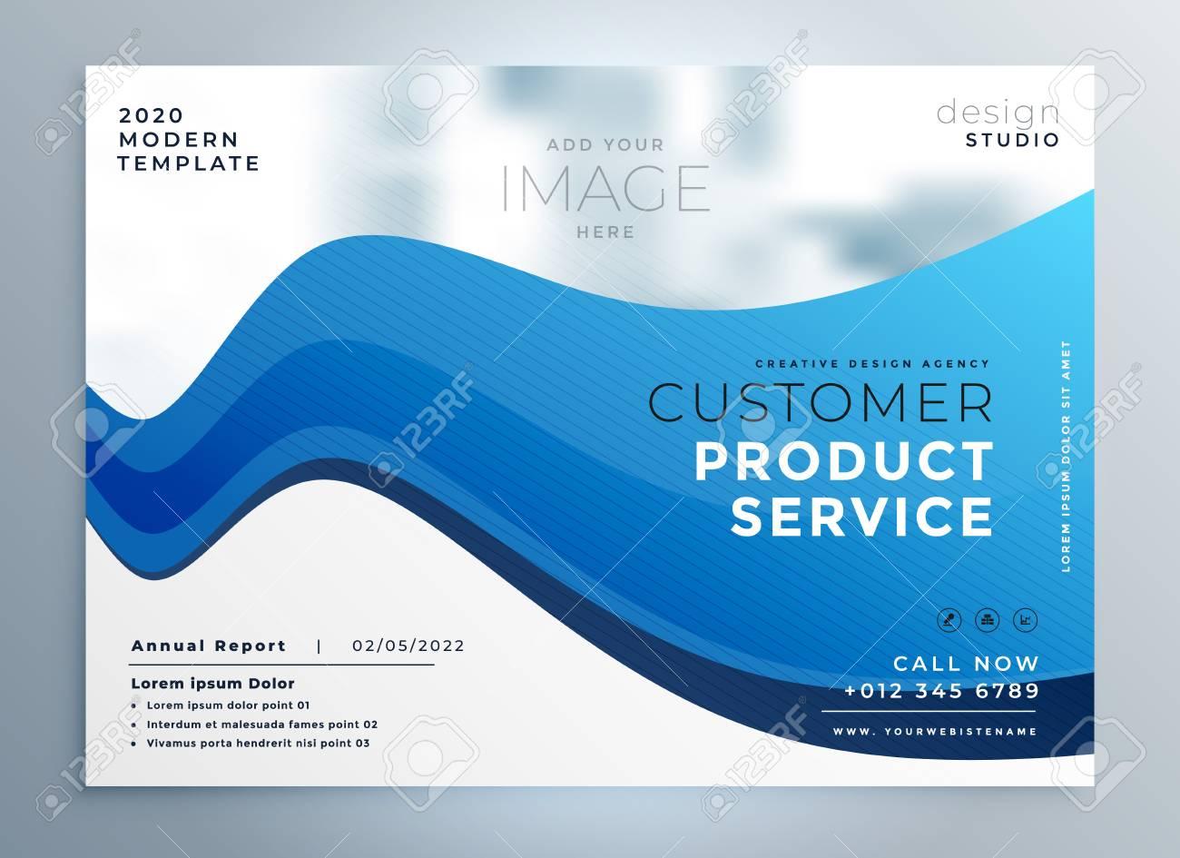 professional blue wave business brochure design - 115047374