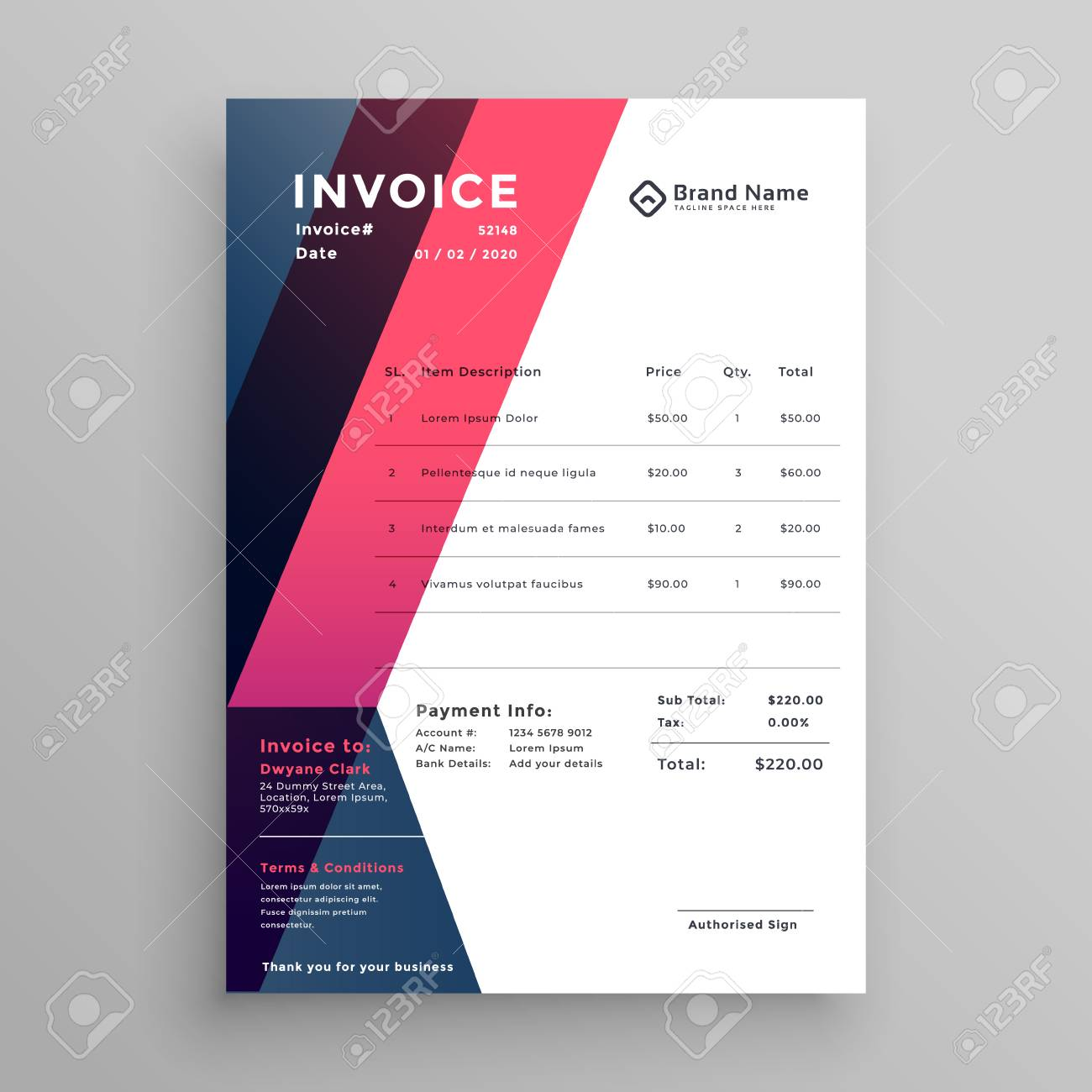 modern invoice template for your business royalty free cliparts