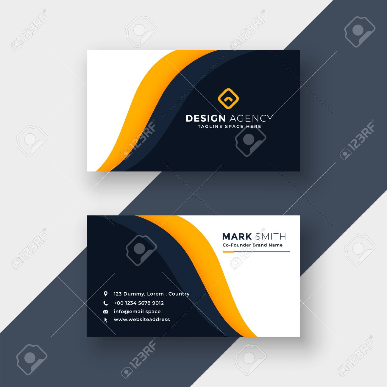 awesome yellow business card template - 110488595