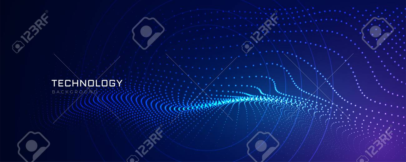 technology particles lines digital background - 117534858