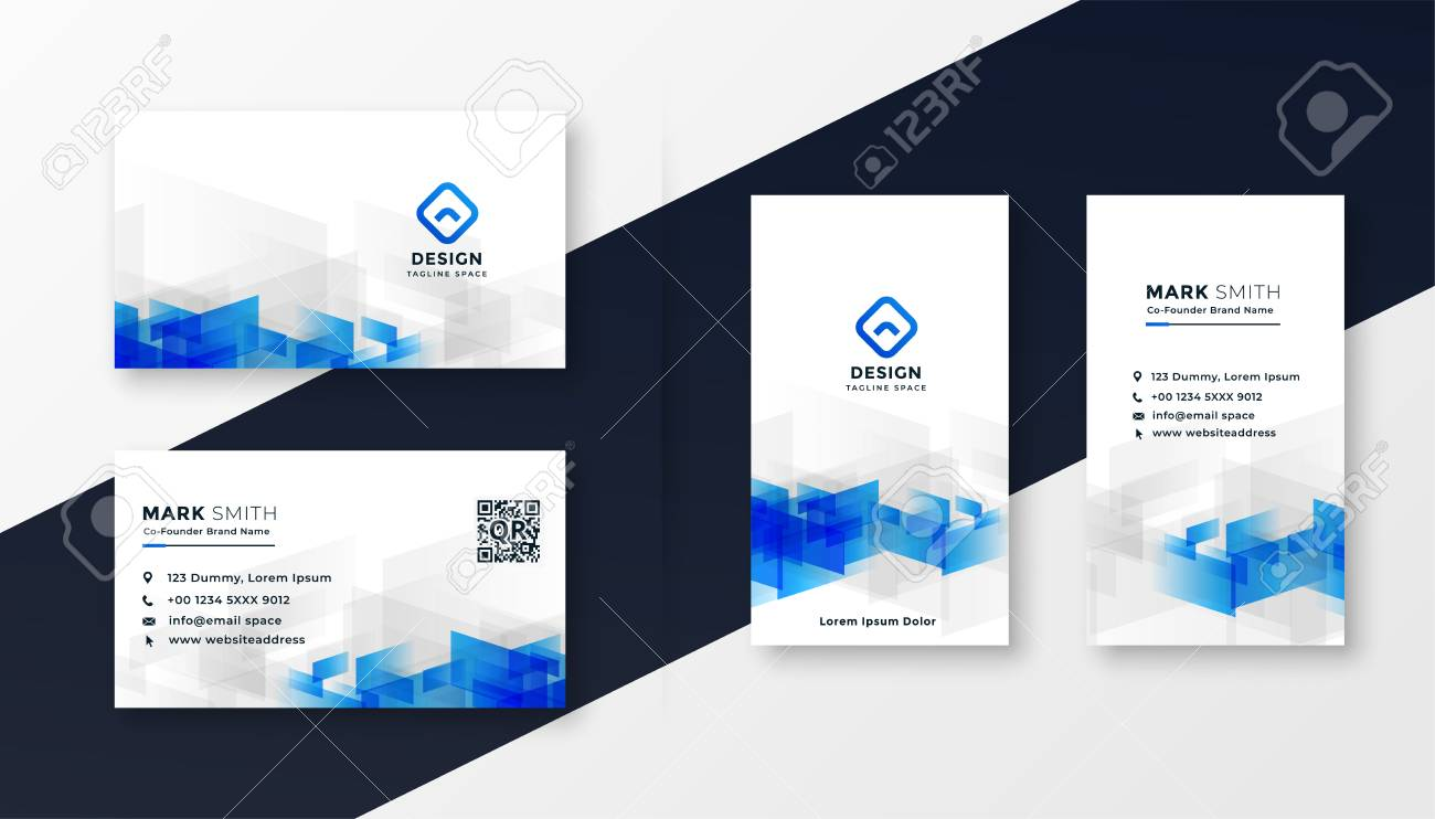 abstract white and blue business card template set - 124801386
